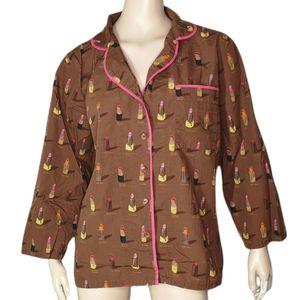 Munki Munki Cotton Lipstick Print Pajama Set